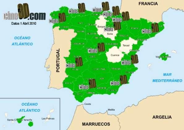 Provincias 2D y provincias 3D en España